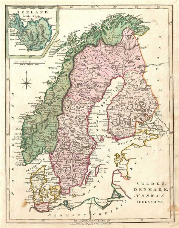 Antique Maps Of Scandinavia And Denmark Rare Antique Maps Sweden Map Antique Maps Iceland Map