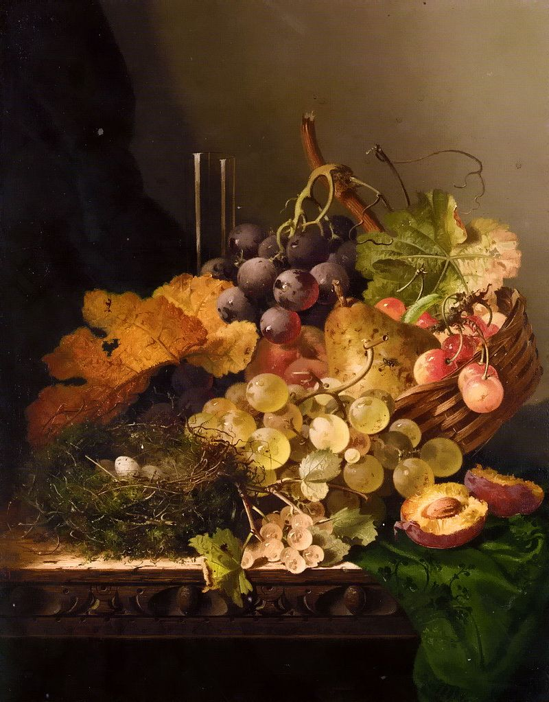 Still Life with Birds Nest and Fruit, Edward Ladell