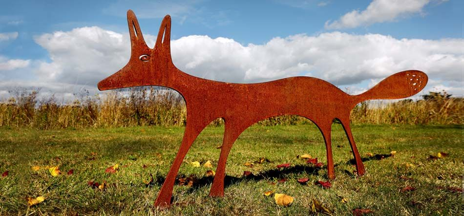Beautiful Fox garden sculptures. The Fox sculpture, a contemporary garden sculpture crafted from rusted metal makes a real feature, a great piece of garden art
