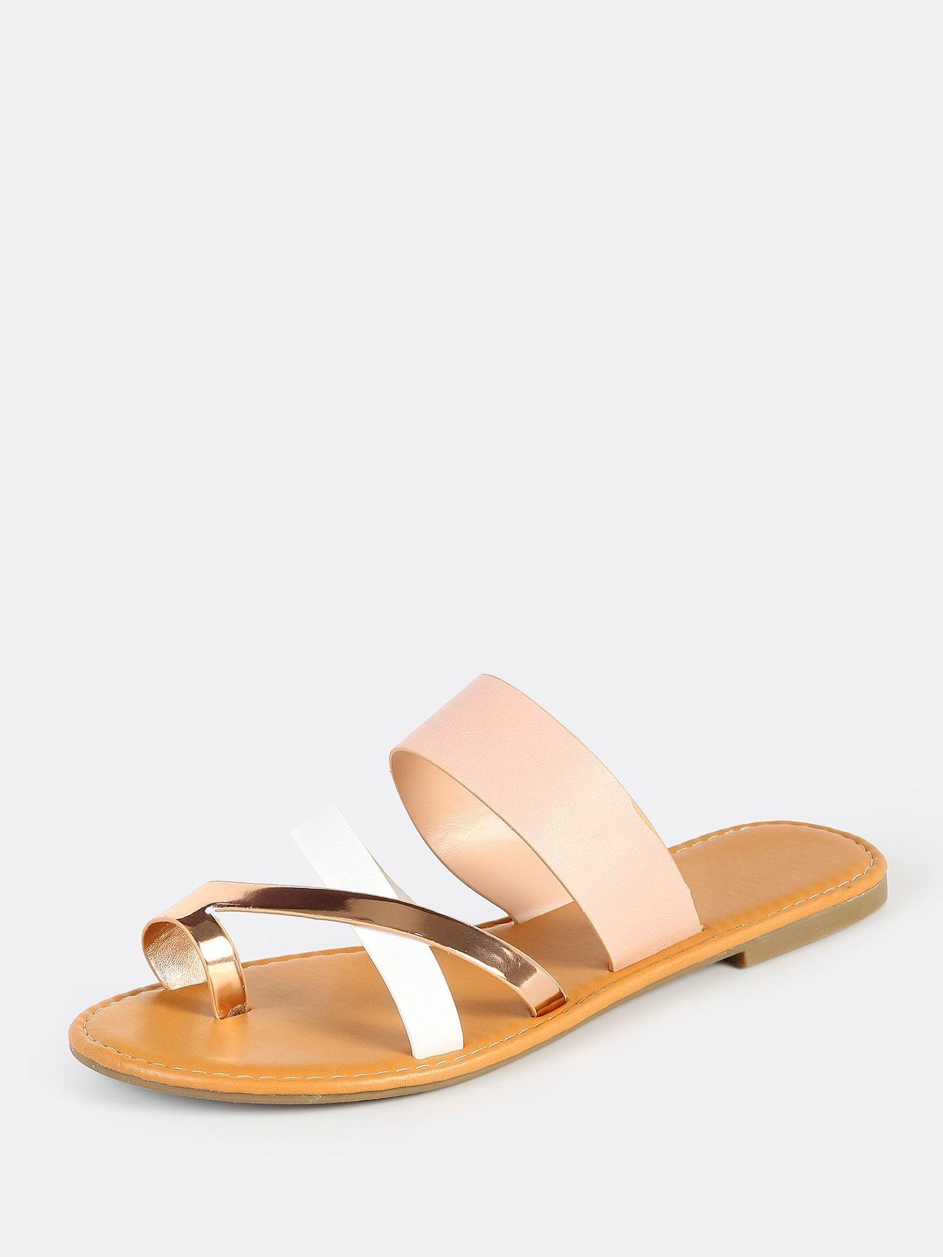 19b9be7f7f Casual Toe Post Strappy and Criss Cross Multicolor Multi Toe Ring Sandals  BLUSH MULTI