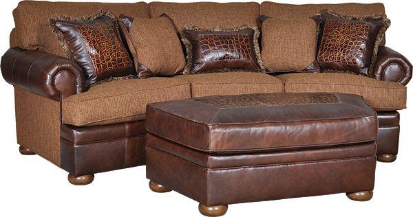 Mayo Furniture 755 Leather/Fabric Conversational Sofa - Downing ...