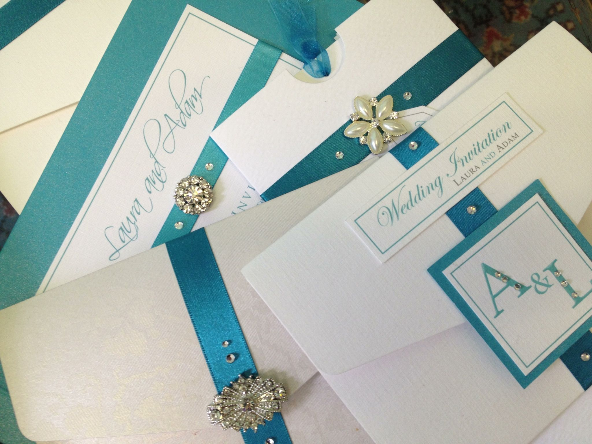 Teal triumph: luxury wedding invitations handmade and bespoke in all ...