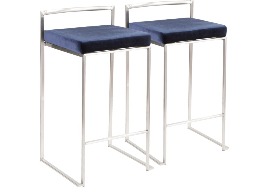 Astonishing Sora Blue Silver Counter Height Stool Set Of 2 Products Alphanode Cool Chair Designs And Ideas Alphanodeonline