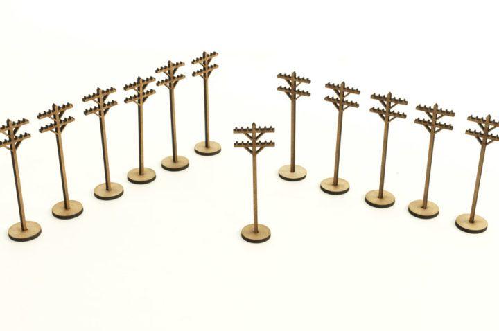 12 telegraph poles 28mm terrain wood adhesive pole