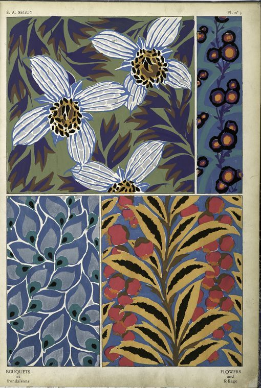 Free printable vintage French textile design/pattern {art deco}.  This would be beautiful framed. From the NYPL Digital Gallery #textiledesign