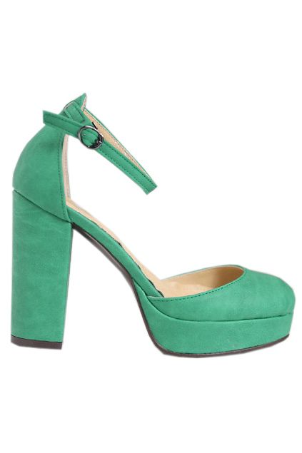 Platform Chunky Heel Green Shoes