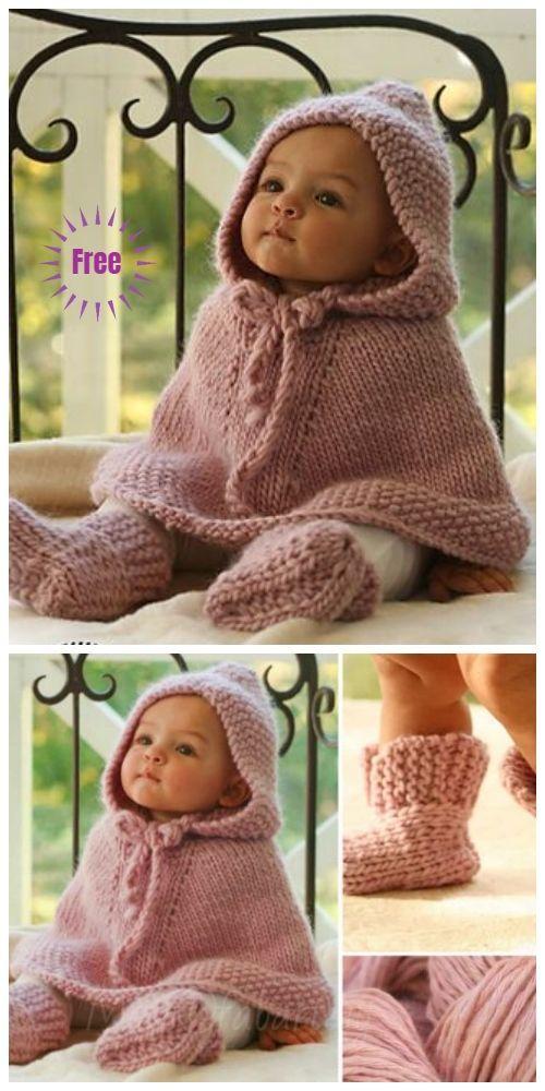 Patrón de tejido de punto de poncho pequeño para bebé sin costuras