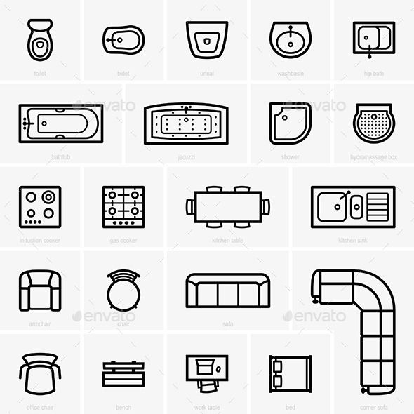 Top View Furniture Icons Interior Design Drawings Floor Plan Symbols Chairs Logo