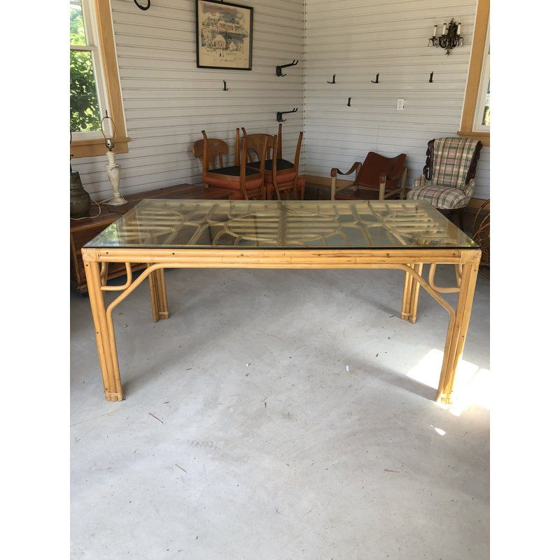Vintage Bamboo Glass Top Dining Table Dining Table Glass Top