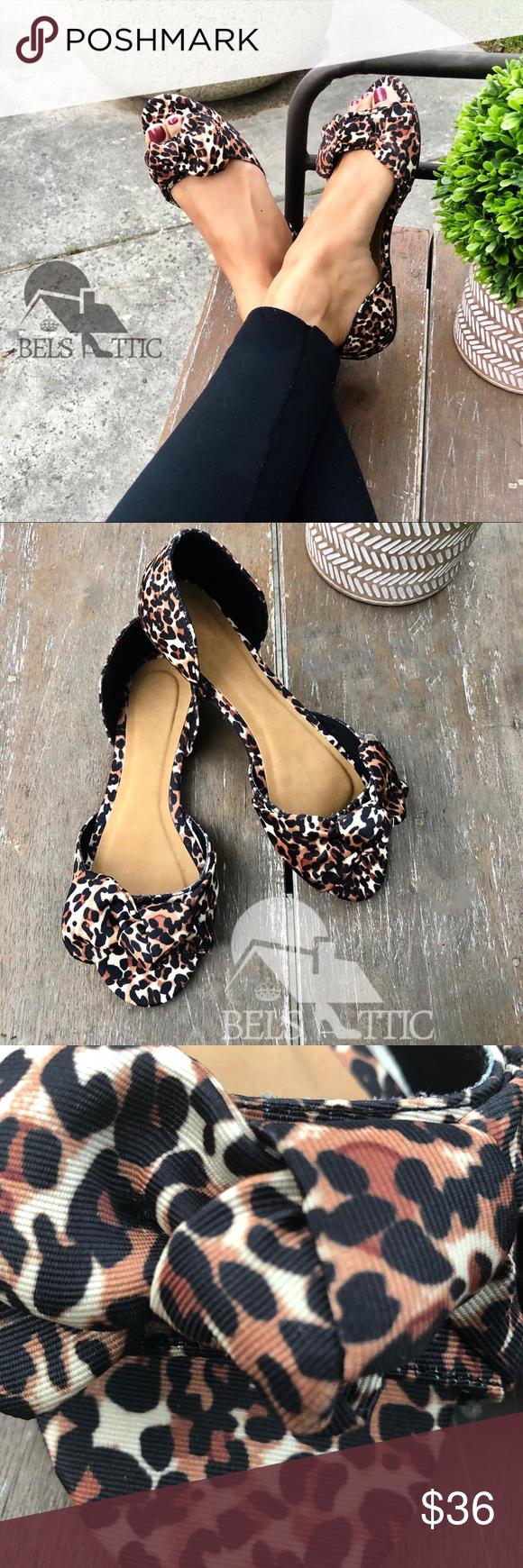 Peep Toe Animal Leopard Print Flats