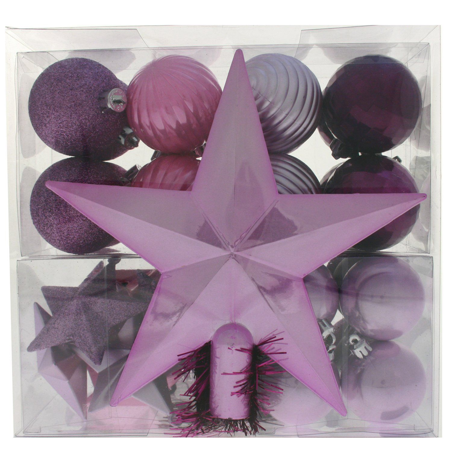 WeRChristmas 42 Piece Shatterproof Plastic Baubles Decoration Pack With Tree  Topper And Garland, Purple