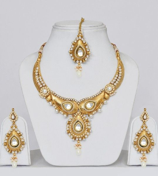 Jewellery India Online Shop Indian Gold Plated Necklace Sets: Gold Plated Polki Wedding Jewelry