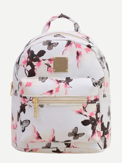 18809648c839 Allover Vintage Flower Print Backpack - White