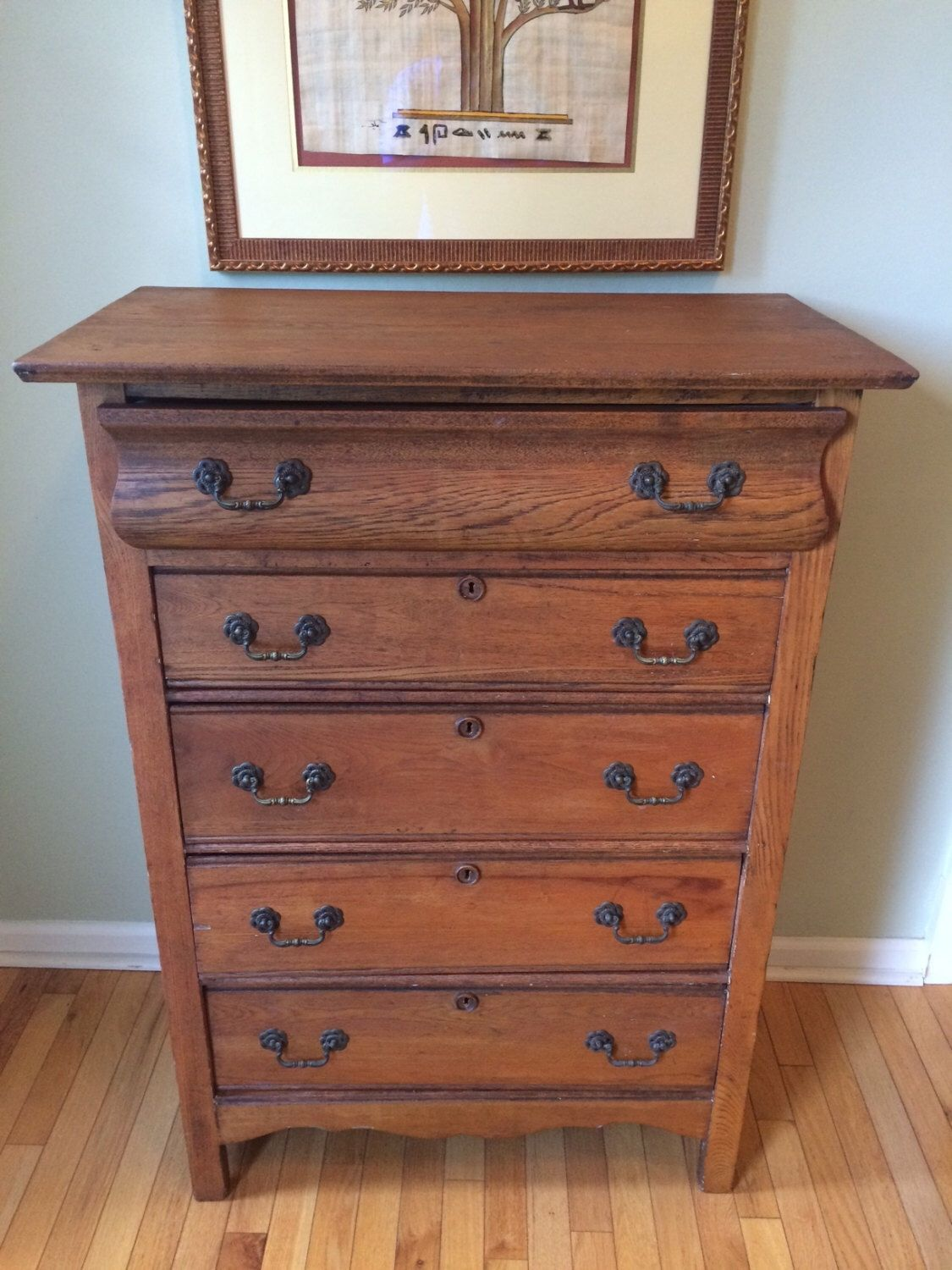Beautiful Antique Early American Tall Boy Solid Oak Dresser Bureau Chest Of Drawers W Brass