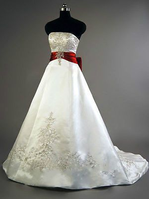New White Red Wedding Dress Bridal Gown Plus Size Satin Embroidery Custom 4 26 Red White Wedding Dress Red Wedding Dresses Wedding Dresses