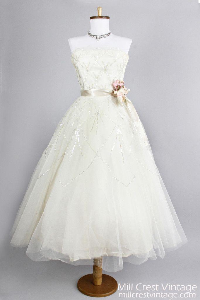 Strapless Tea Length Vintage Wedding Dresses
