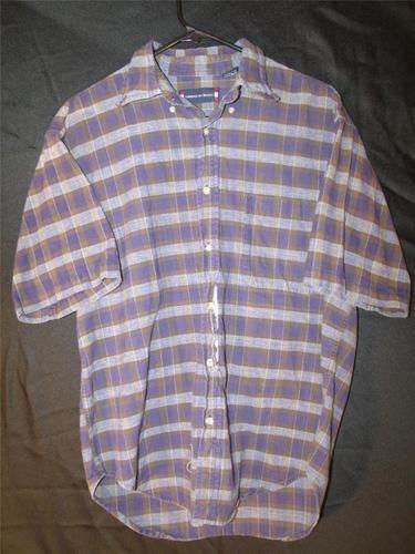 Mens M Medium Dress Shirt Button Up Plaid Flannel American Blue Short Sleeve