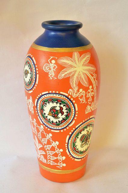 Worli Art Hand Painted Flower Vase Warlihandpaintedhandcrafted