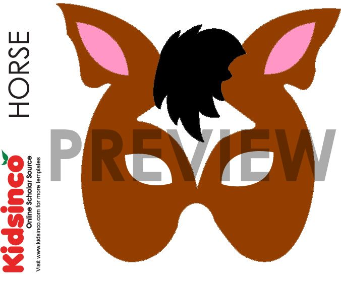 Horse Mask Template, Horse Pattern Halloween costumes - face masks templates