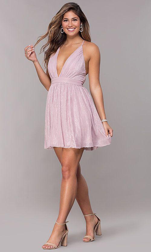 V-Neck Metallic Homecoming Short Party Dress | Metallic ...