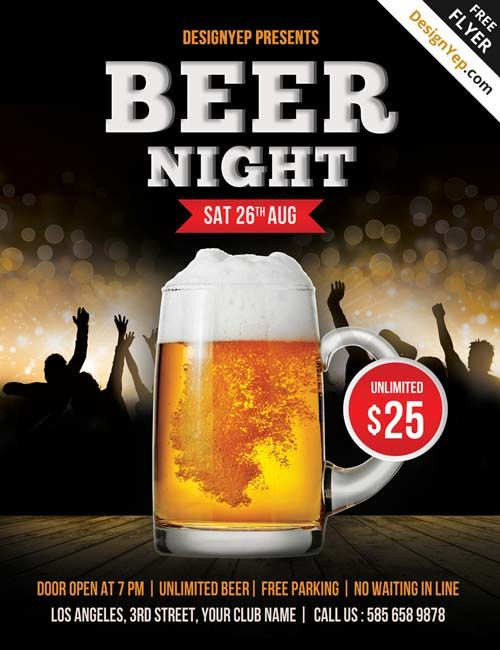 Free Beer Night PSD Flyer Template | Cover pages | Pinterest