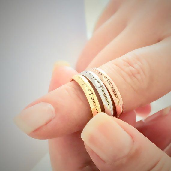 Stackable Name Ring, Promise Ring, Personalized Ring Couples, Silver Stacking Ring, Enamel Ring, Birthday Gift for Girlfriend, Name Jewelry