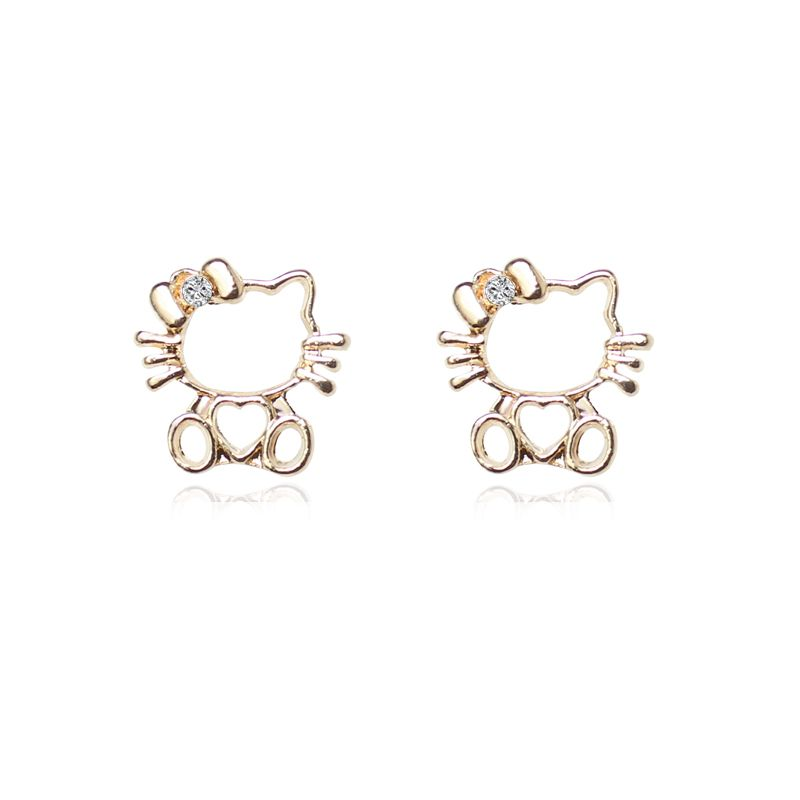 02190e335 Famous Brand Jewelry Hello Kitty Stud Earring Children Girl Cute Earrings  Gold Plated For Kids Accessories pendientes