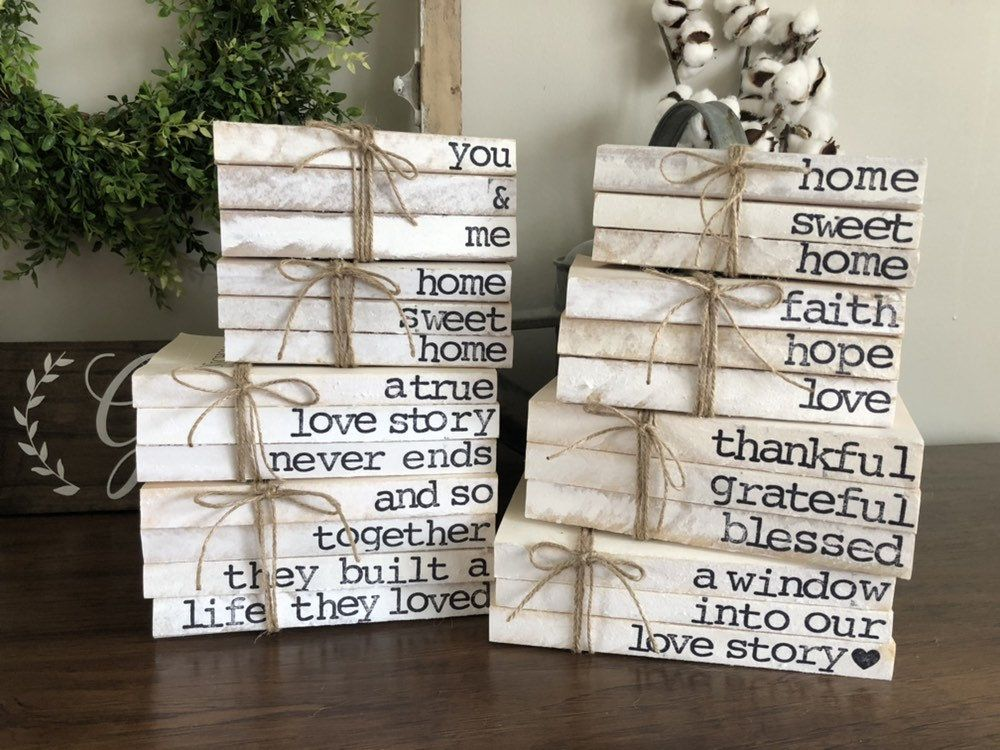 Hand Stamped Book Stacks // Farmhouse Book Stack Decor