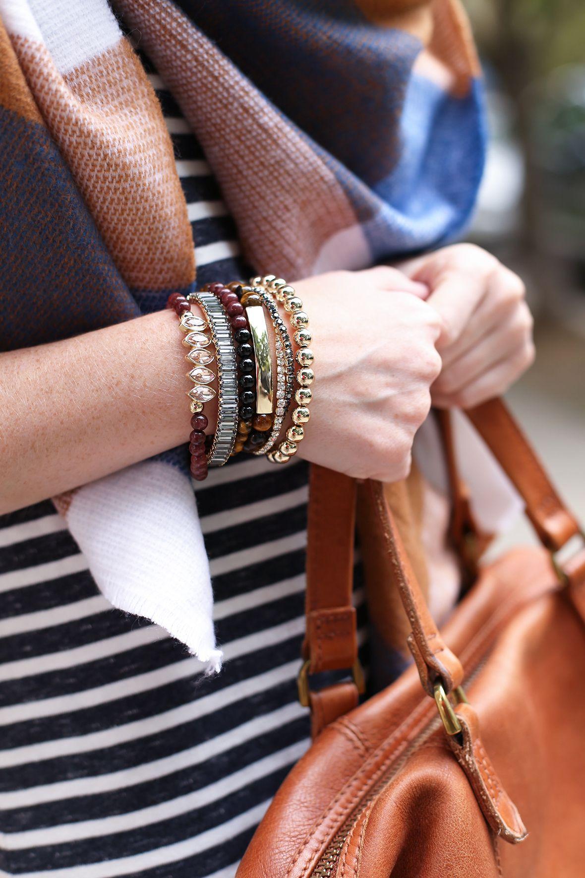Poor Little It Girl - Striped Dress and Plaid Blanket Scarf - @poorlilitgirl