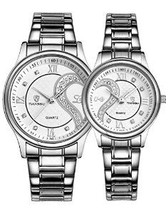 2095566cdc29 couple watch  steel white dial his and her watch set  anniversary gift  watch set