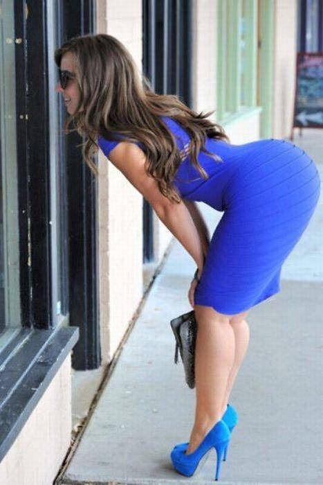 Tight dress bent over