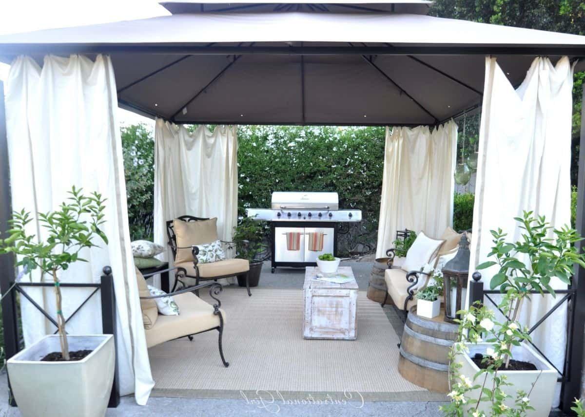 Backyard Metal Gazebo With White Curtains Outdoor gazebos