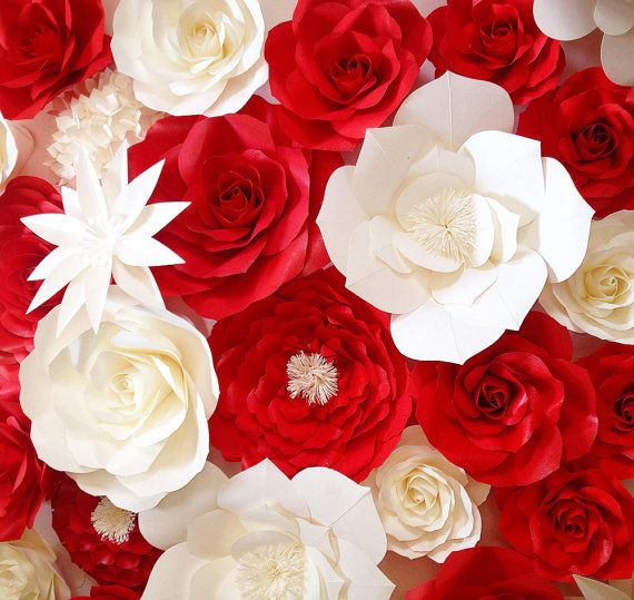 Red And White Paper Flower Backdrop With Images Paper Flowers