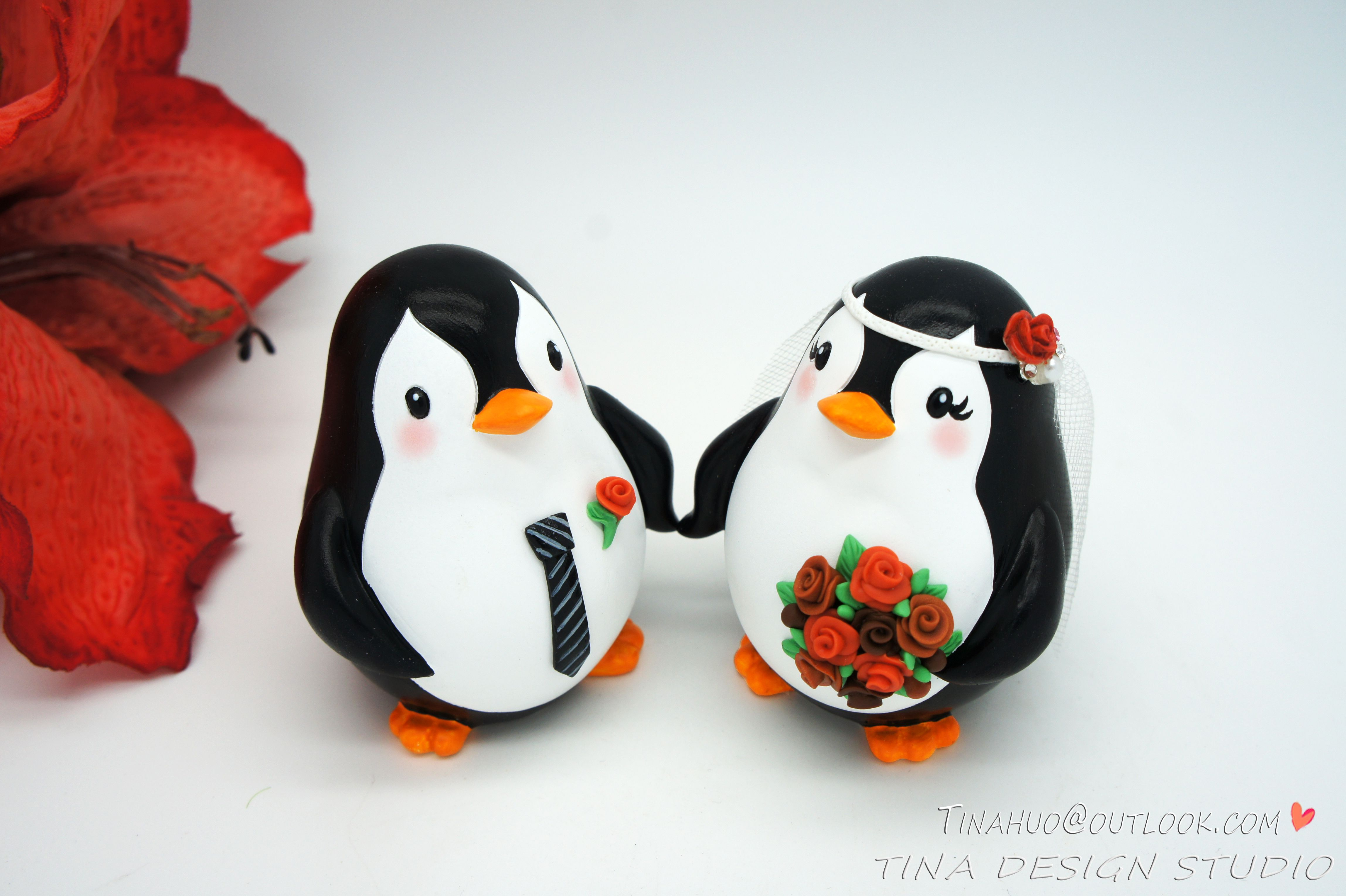 Fall Wedding Cake Toppers-Funny Penguin Wedding Cake Toppers Autumn ...
