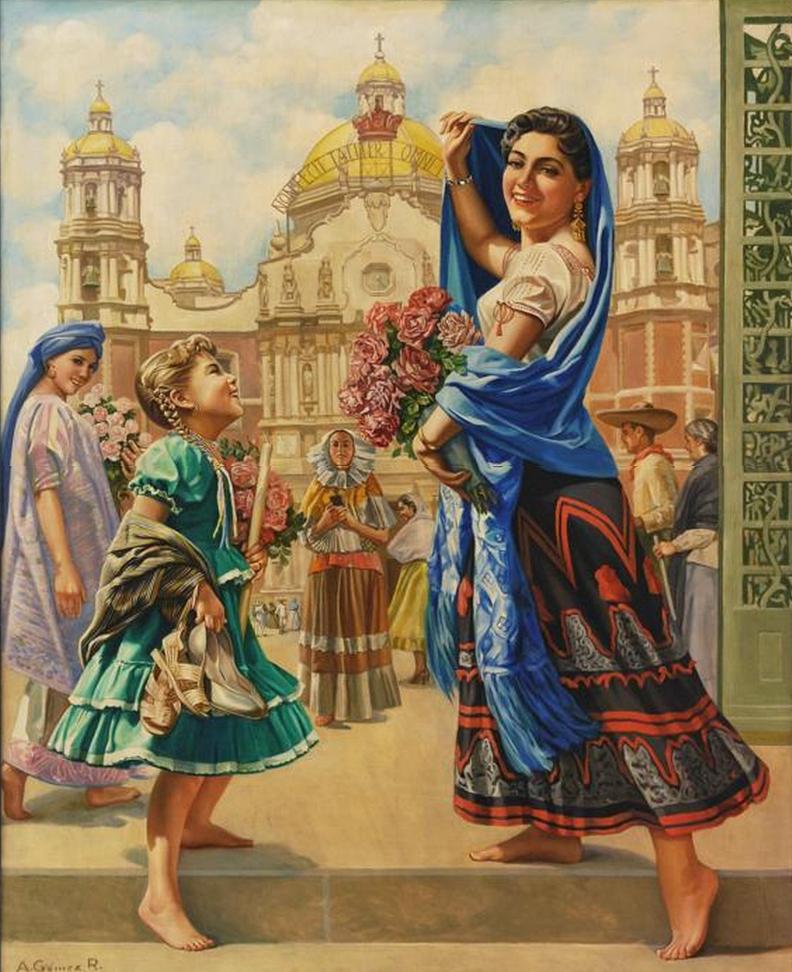 Vintage Mexican Calendar Art : En la basílica de guadalupe arte popular mexicano