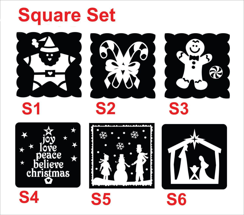 Christmas Vinyl Decals For Glass Blocks.Assorted Christmas Vinyl Decals Diy Luminaries Or Glass