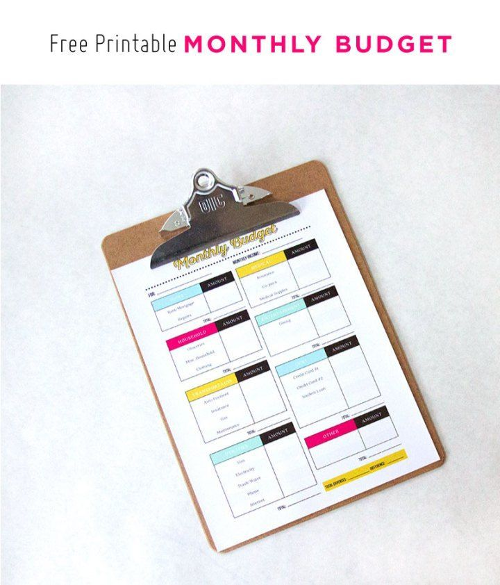 Free Printable Monthly Budget This is so cute! What a great way to - bill organizer chart