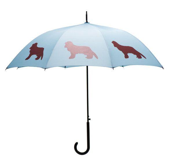 Dog Umbrella - Cavalier King Charles Spaniel (Marsala on Island Blue)