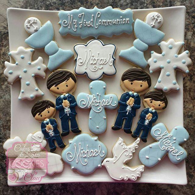 #firstcommunioncookies #communioncookies #boyfirstcommunioncookies #decoratedcookieshouston #customcookieshouston #cakesandcookiesbyclau