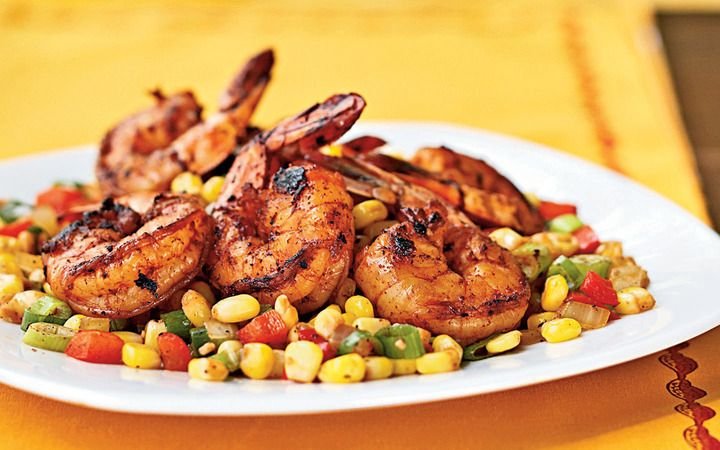 Three Chile Dusted Shrimp With Quick Corn Relish From The Cooking Light Diet