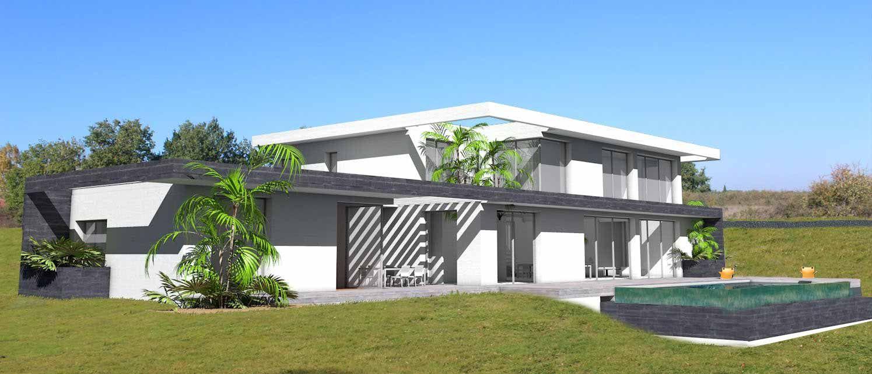 Sehr Maison contemporaine sur terrain en pente avec piscine à  LH57