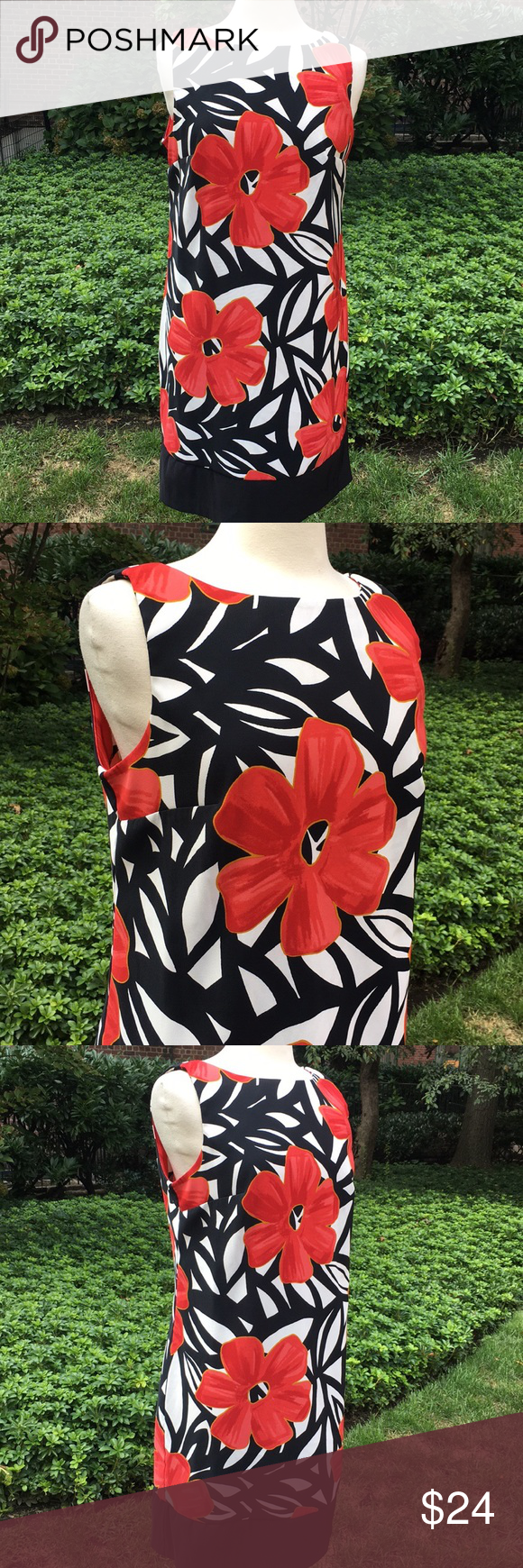 Alyx red and black flowered tank dress in my posh closet
