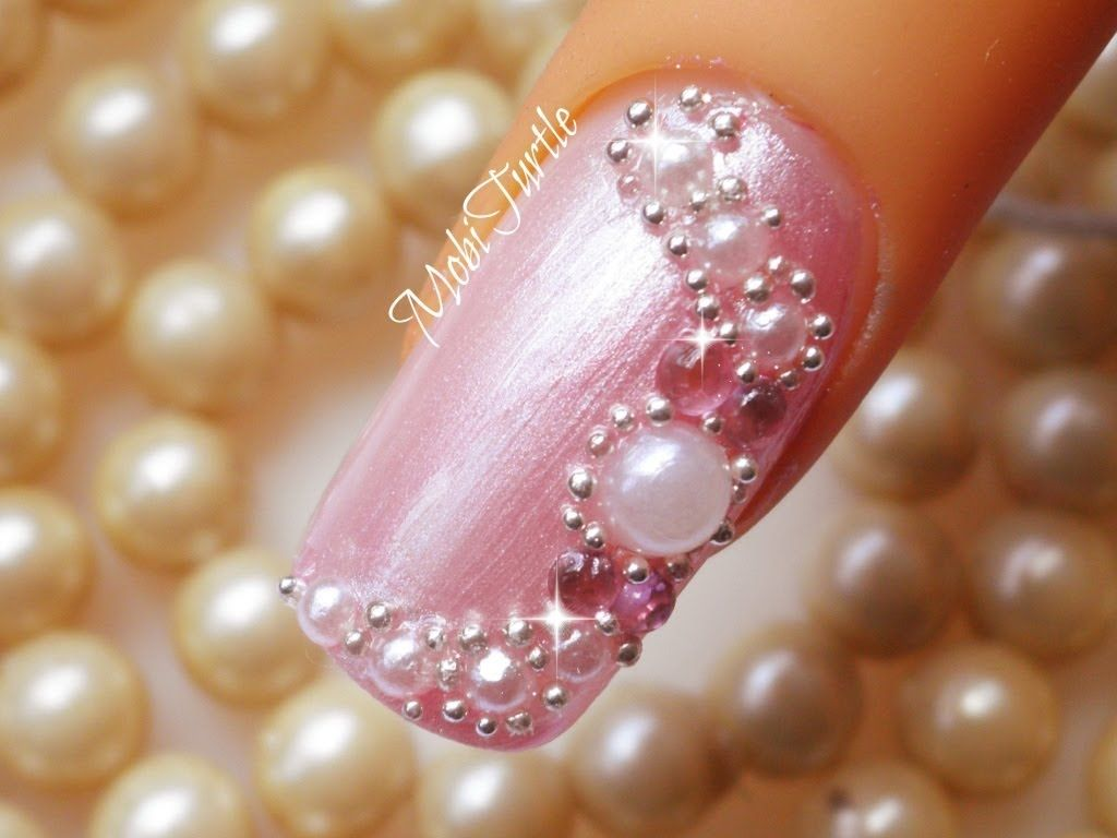 Bridal Nail Art Design using Pearls and Pink Rhinestones Beads ...