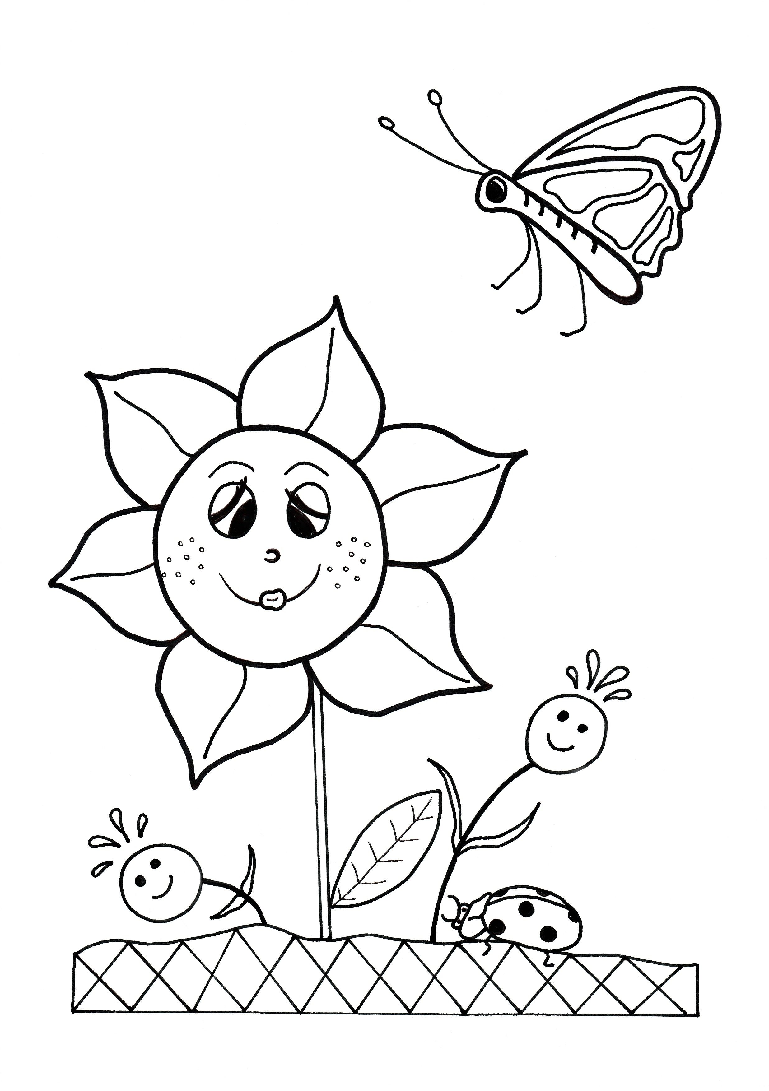 Dancing Flowers Spring Coloring Sheet Spring Coloring Pages