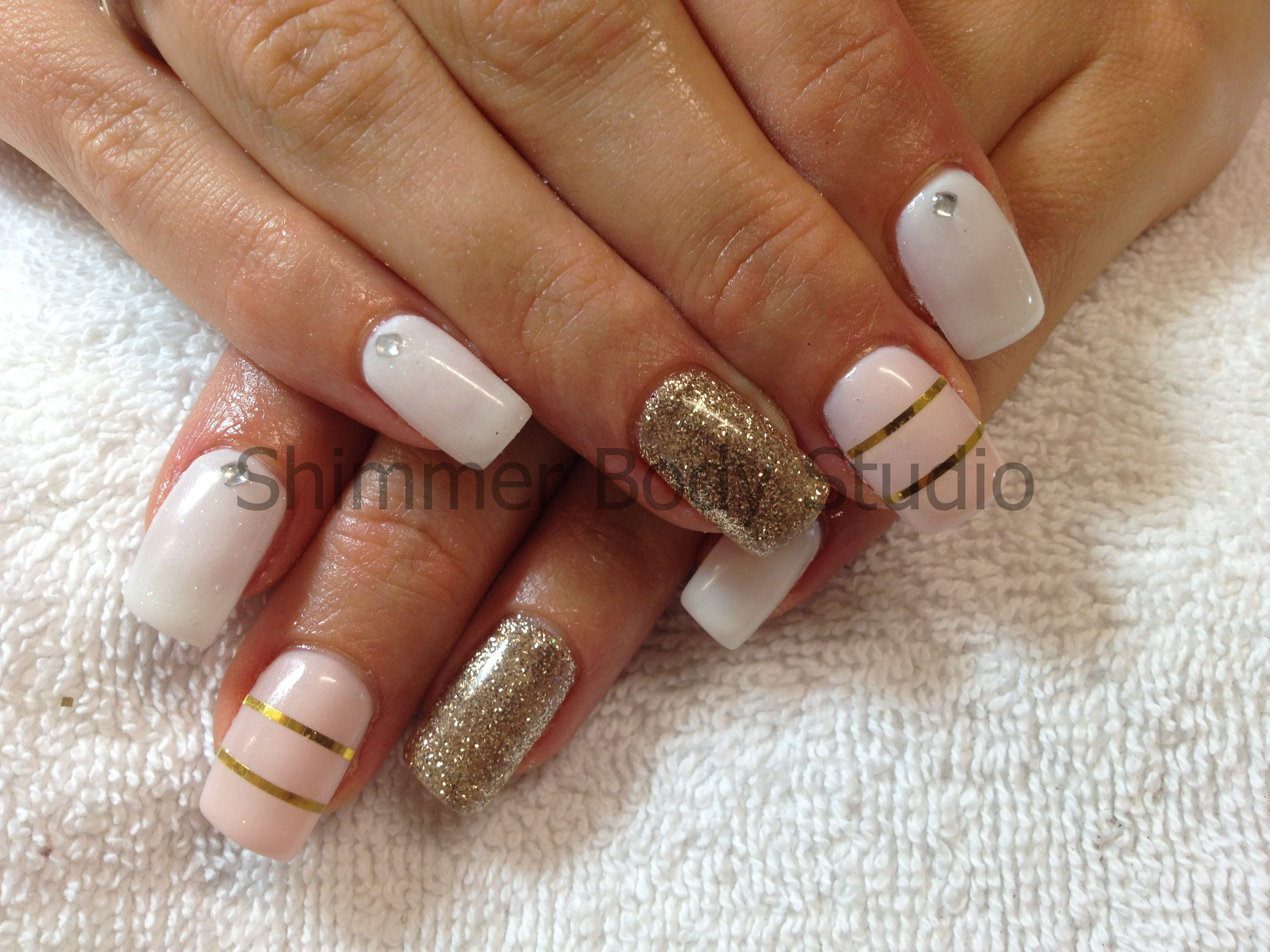 Gel Nails White And Gold Nails Glitter Feature Nail Gold Striping
