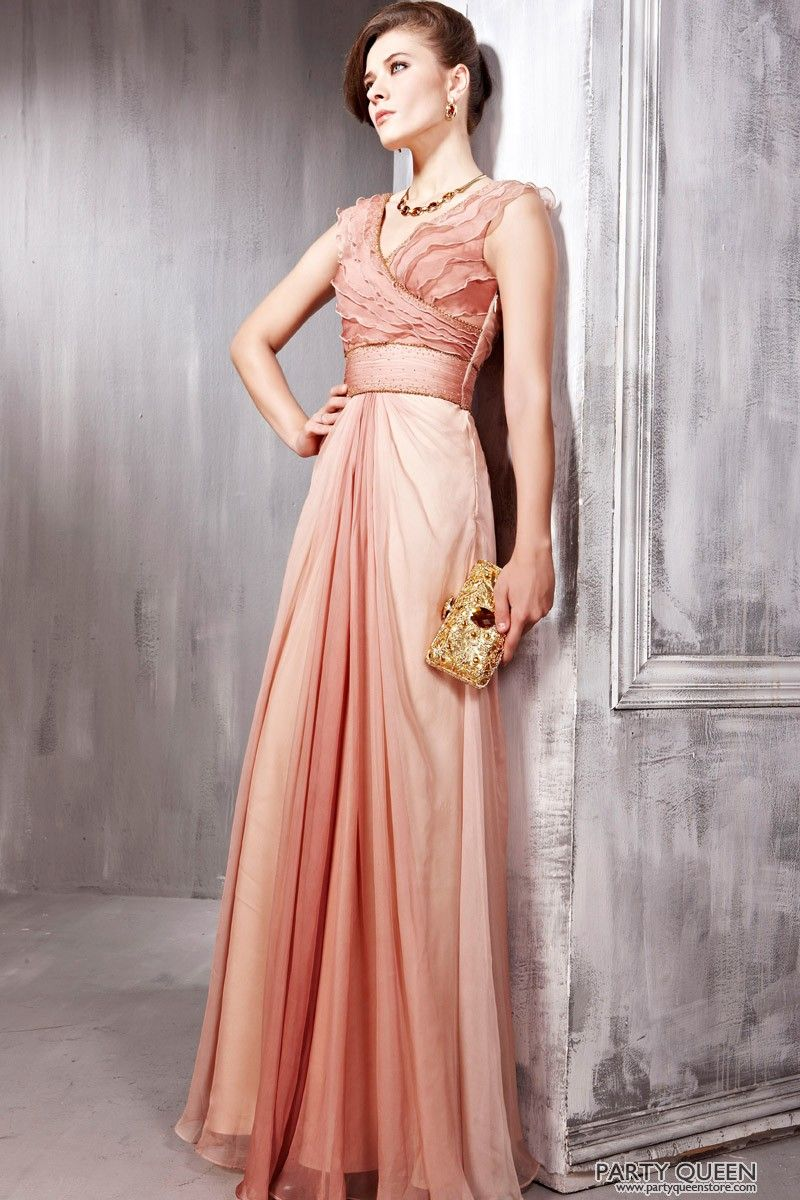 Formal pink dresses for women  Brown Prom Chiffon Straps Draped Formal Long Evening Dress  Wedding