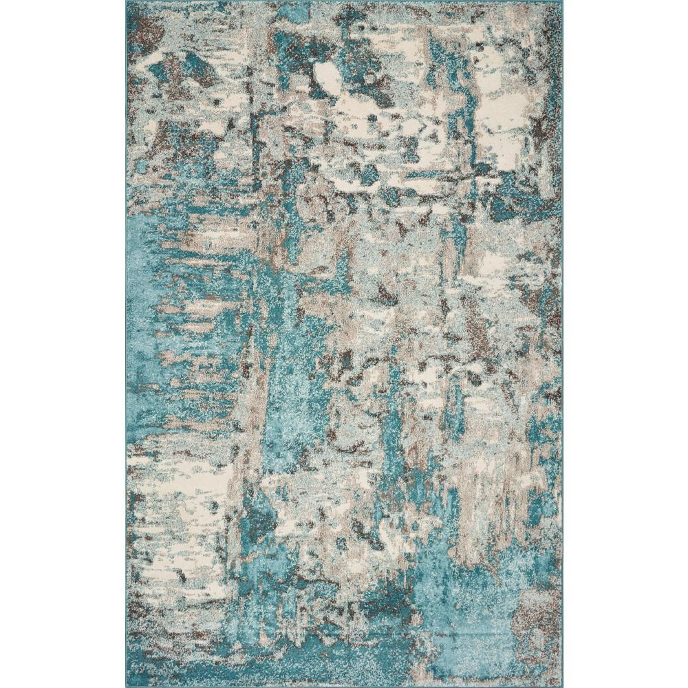 Kas Rugs Watercolors Ivory Teal 5 Ft X 8 Ft Watercolor Area Rug