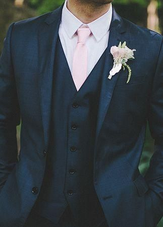 Dark Blue Jacket Pink Tie Groom Tuxedos Shawl Collar Lapel