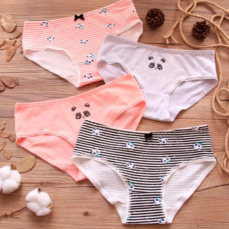 53d3df15bf Girl Panties 4PCS Striped Briefs Cotton Underwear Panda Printed Cute Briefs  Breathable Underpants Girl Panties 821. Yesterday s price  US  10.99 (9.59  EUR).