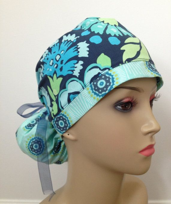 finest selection 1336e 78192 Women s Surgical Scrub Cap Ponytail Blue by mcdreamyhats on Etsy,  19.95